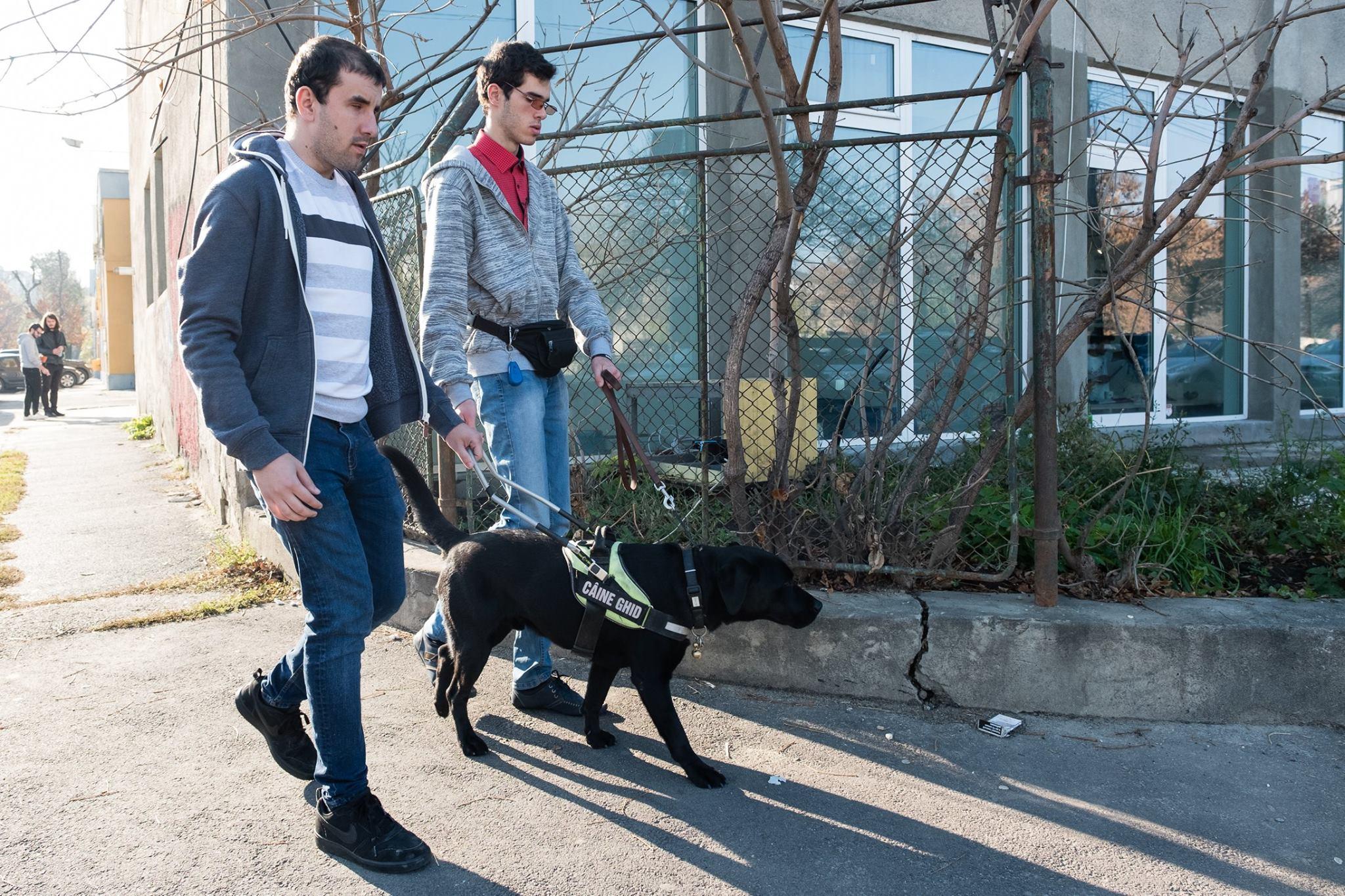 Descriere foto: Phantom pe strada ghideaza un participant nevazator, impreuna cu Paul.